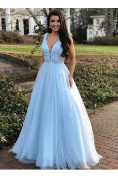 A-Line Beaded V-Neck Long Prom Dresses Formal Evening Gowns 6011000