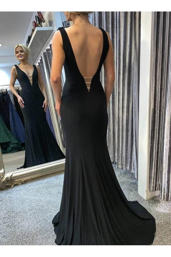 Mermaid Long Black V-Neck Prom Dresses Formal Evening Gowns 6011004