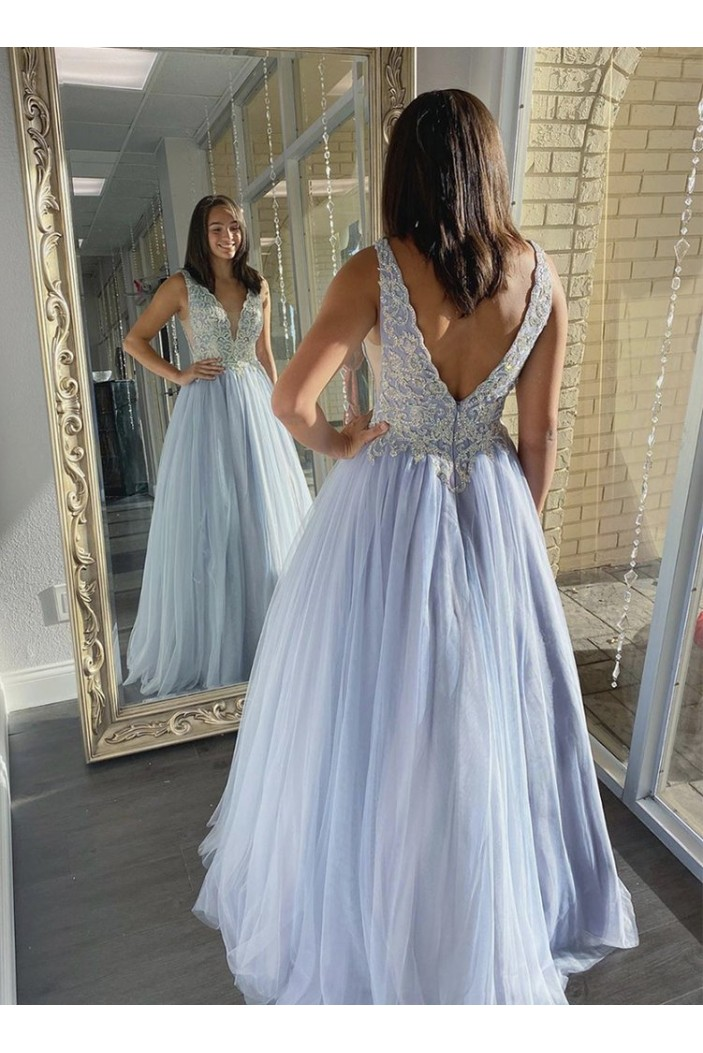 A-Line Beaded Lace V-Neck Long Prom Dresses Formal Evening Gowns 6011005