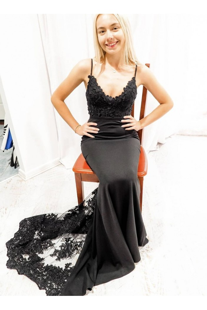 Long Black Lace Prom Dresses Formal Evening Gowns 6011012