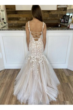Mermaid Lace Appliques Long Prom Dresses Formal Evening Gowns 6011014