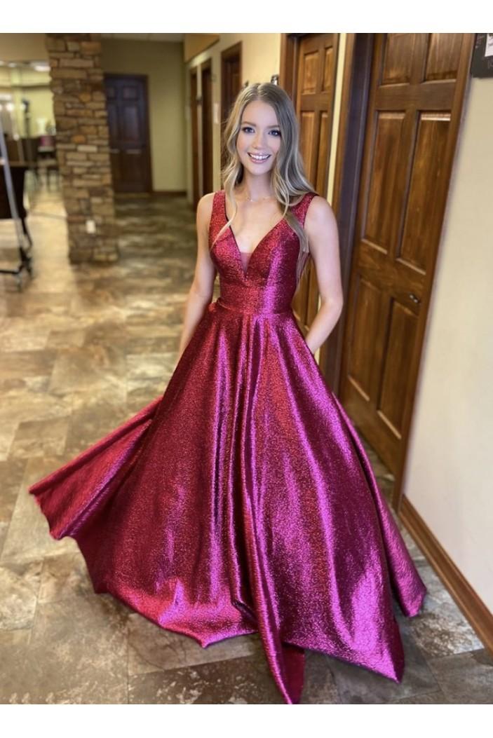 A-Line V-Neck Long Prom Dresses Formal Evening Gowns 6011017