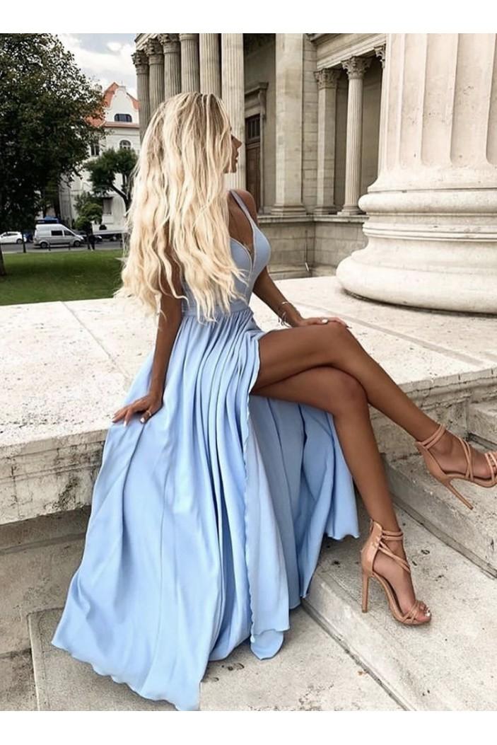 A-Line V-Neck Long Prom Dresses Formal Evening Gowns 6011019