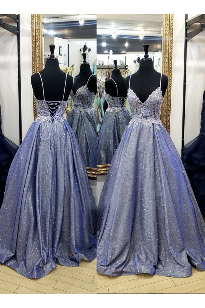 A-Line Lace Sparkly Long Prom Dresses Formal Evening Gowns 6011020