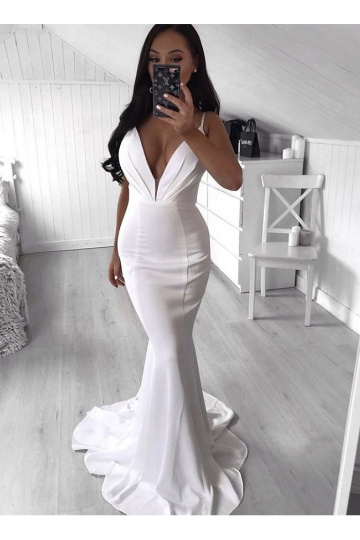 Mermaid V-Neck Long Prom Dresses Formal Evening Gowns 6011021