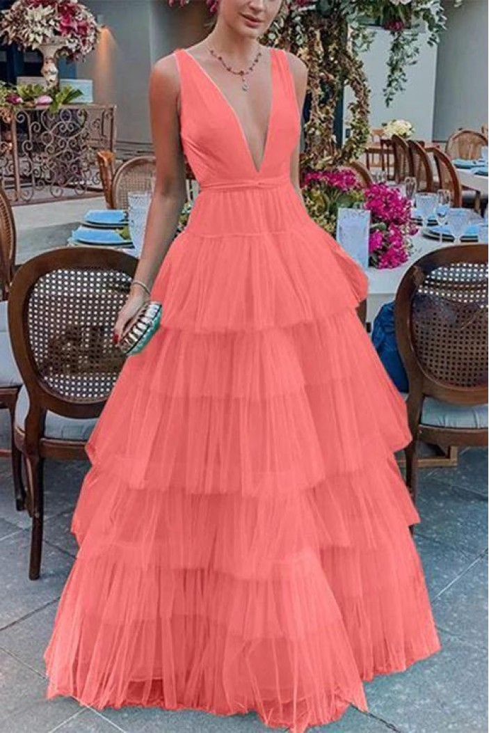 A-Line Tulle V-Neck Long Prom Dresses Formal Evening Gowns 6011025