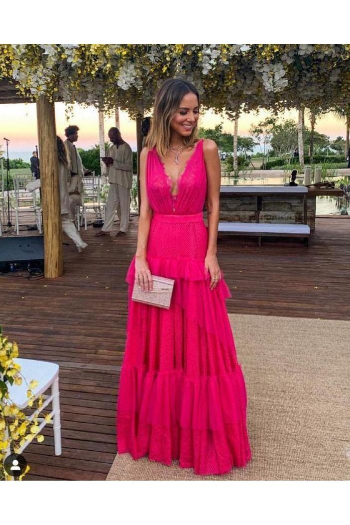 A-Line V-Neck Long Prom Dresses Formal Evening Gowns 6011026