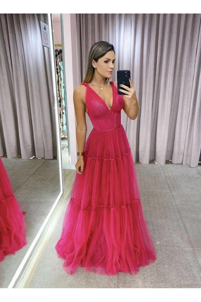 A-Line Long V-Neck Prom Dresses Formal Evening Gowns 6011028