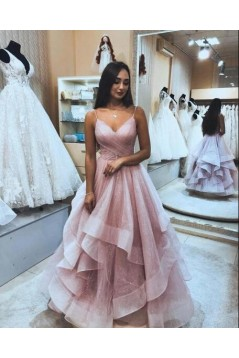 A-Line Sequins Tulle V-Neck Long Prom Dresses Formal Evening Gowns 6011029