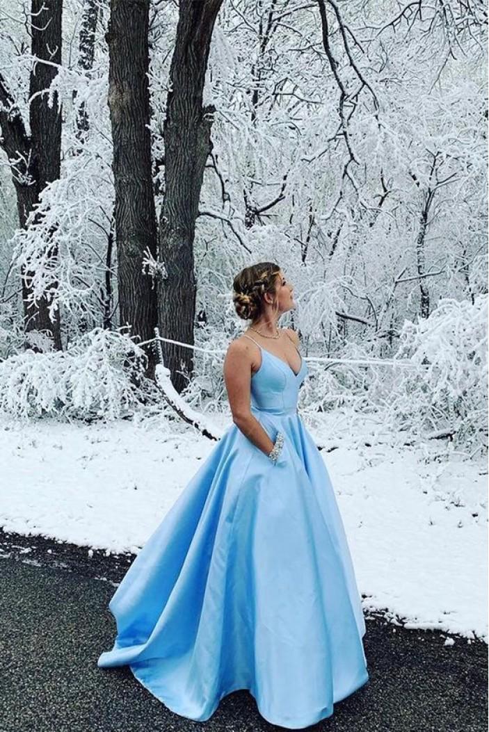 A-Line Long Blue V-Neck Prom Dresses Formal Evening Gowns 6011034