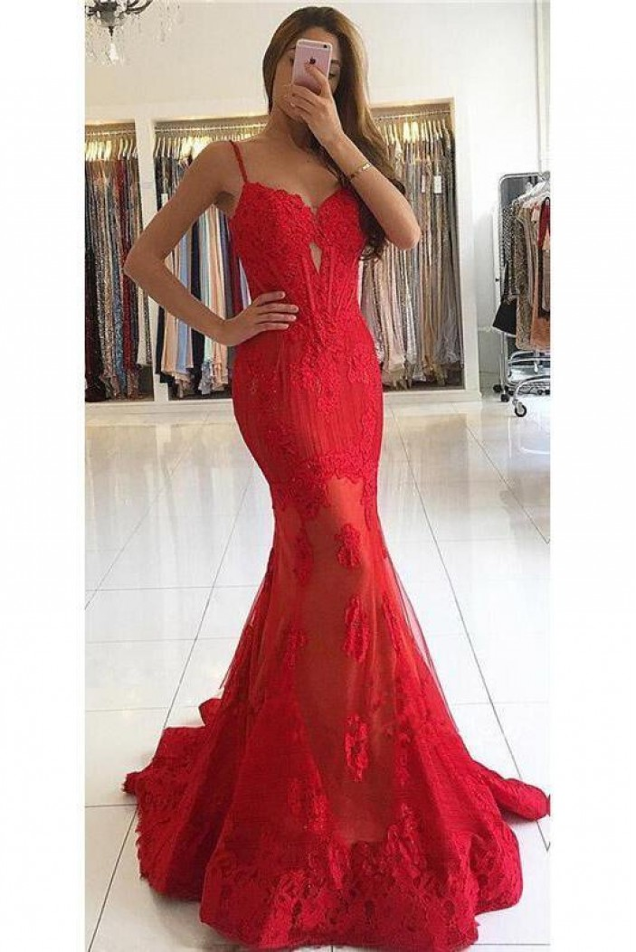 Mermaid Long Red Lace Prom Dresses Formal Evening Gowns 6011036