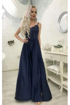 A-Line Spaghetti Straps Lace Long Navy Prom Dresses Formal Evening Gowns 6011039