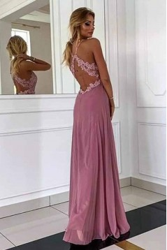 A-Line Lace Chiffon V-Neck Long Prom Dresses Formal Evening Gowns 6011041
