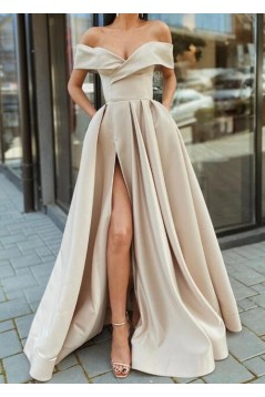 A-Line Off-the-Shoulder Long Prom Dresses Formal Evening Gowns 6011043