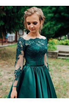 A-Line Long Sleeves Lace Prom Dresses Formal Evening Gowns 6011049