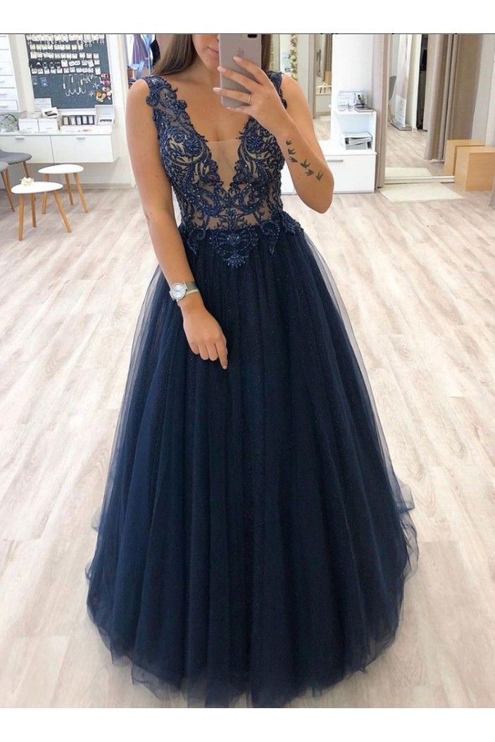 A-Line Beaded Lace Tulle Long Prom Dresses Formal Evening Gowns 6011050