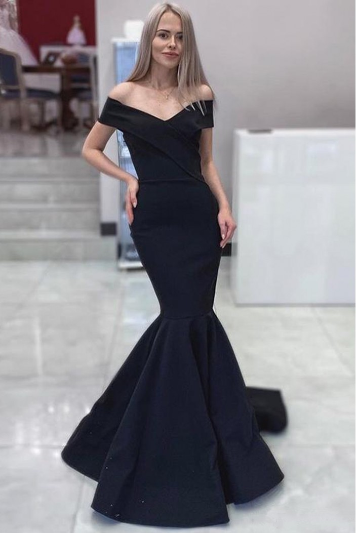 Mermaid Long Navy Off-the-Shoulder Prom Dresses Formal Evening Gowns 6011052