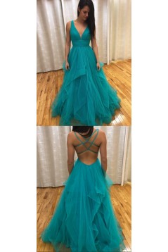 A-Line Tulle V-Neck Long Prom Dresses Formal Evening Gowns 6011053