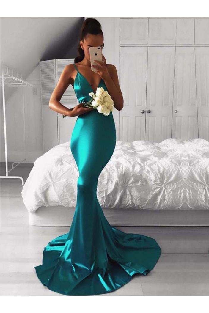 Mermaid V-Neck Long Prom Dresses Formal Evening Gowns 6011054