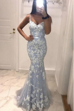Mermaid Spaghetti Straps Lace Long Prom Dresses Formal Evening Gowns 6011059