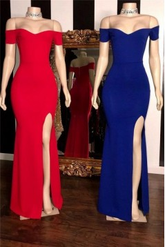 Mermaid Off-the-Shoulder Long Prom Dresses Formal Evening Gowns 6011062