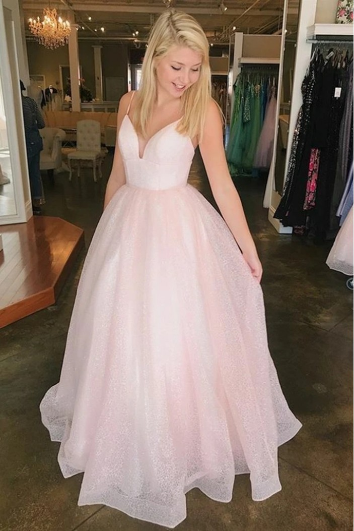 Long Pink Spaghetti Straps Prom Dresses Formal Evening Gowns 6011063
