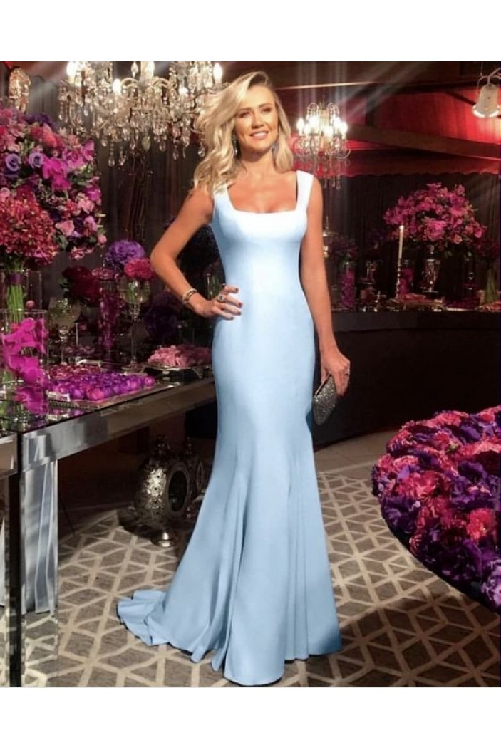 Mermaid Straps Sleeveless Long Prom Dresses Formal Evening Gowns 6011067