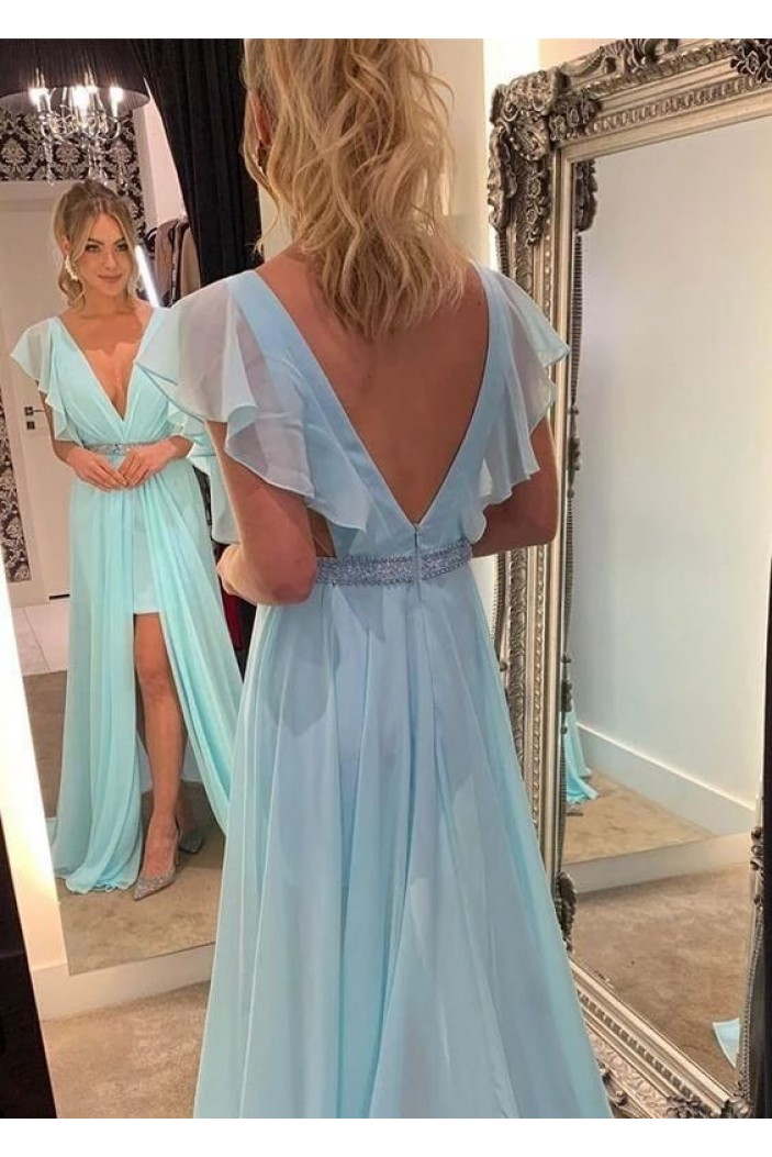 A-Line Beaded Chiffon Long Prom Dresses Formal Evening Gowns 6011068