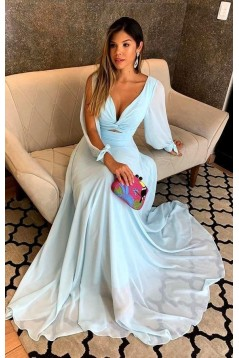 A-Line Chiffon Long Sleeves Prom Dresses Formal Evening Gowns 6011069