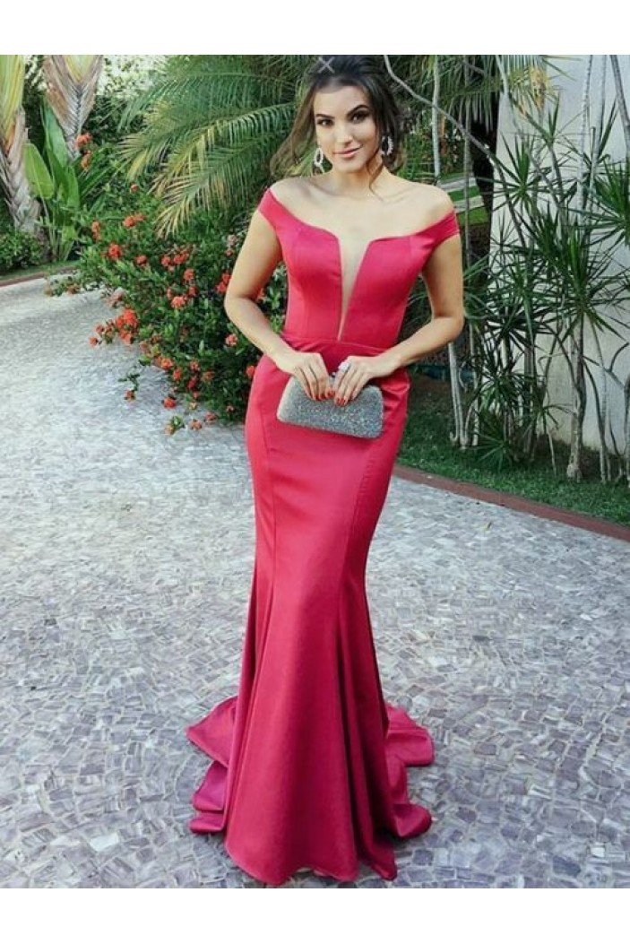 Mermaid Off-the-Shoulder Long Prom Dresses Formal Evening Gowns 6011071