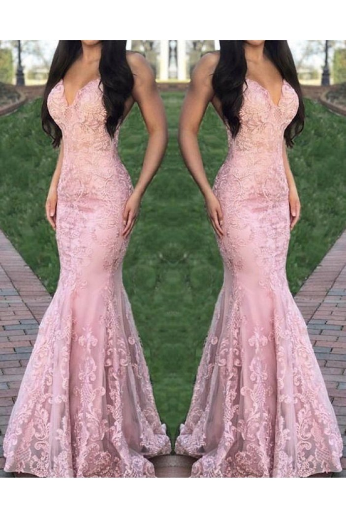 Mermaid Lace V-Neck Long Prom Dresses Formal Evening Gowns 6011074