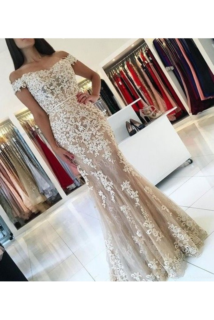 Mermaid Off-the-Shoulder Lace Long Prom Dresses Formal Evening Gowns 6011075