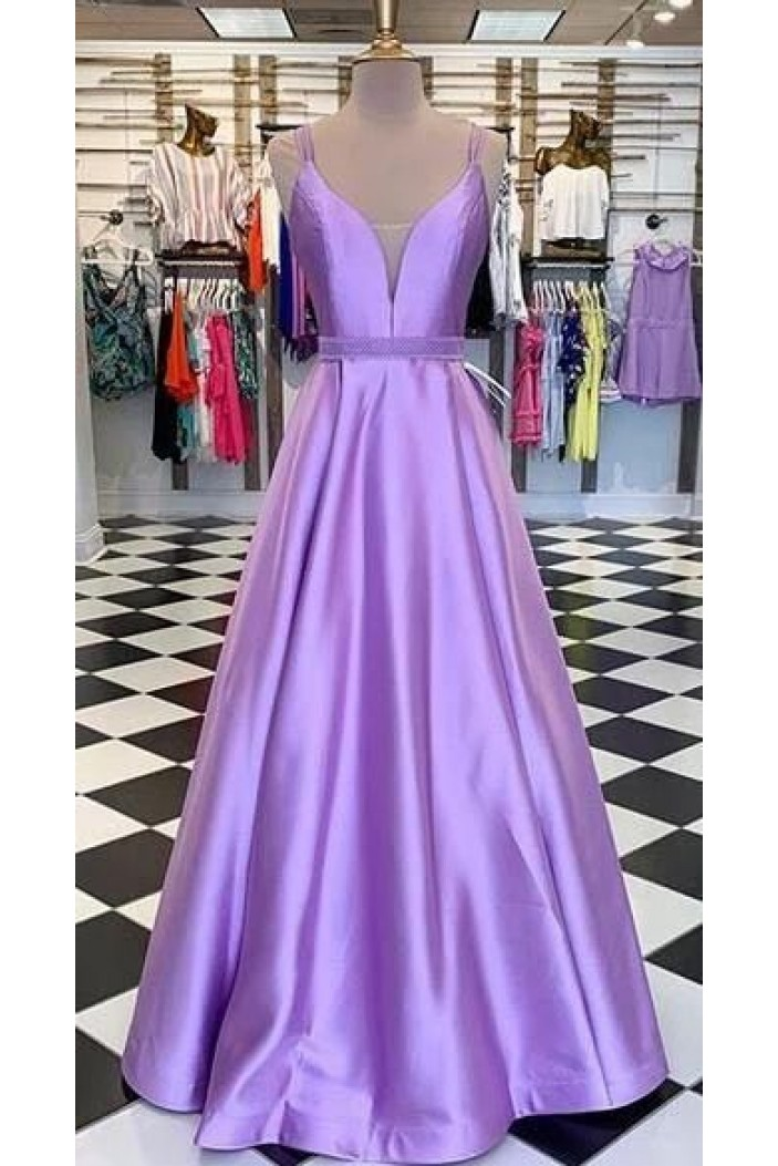 A-Line Spaghetti Straps Long Prom Dresses Formal Evening Gowns 6011077
