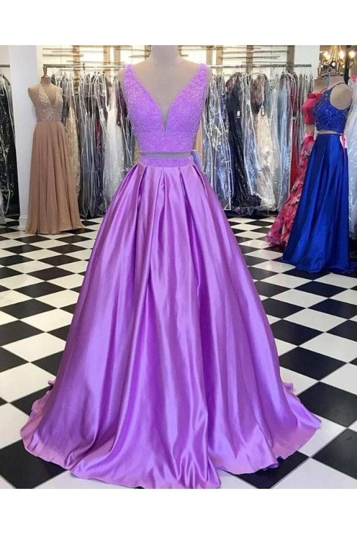 A-Line Lace Satin Two Pieces Long Prom Dresses Formal Evening Gowns 6011078