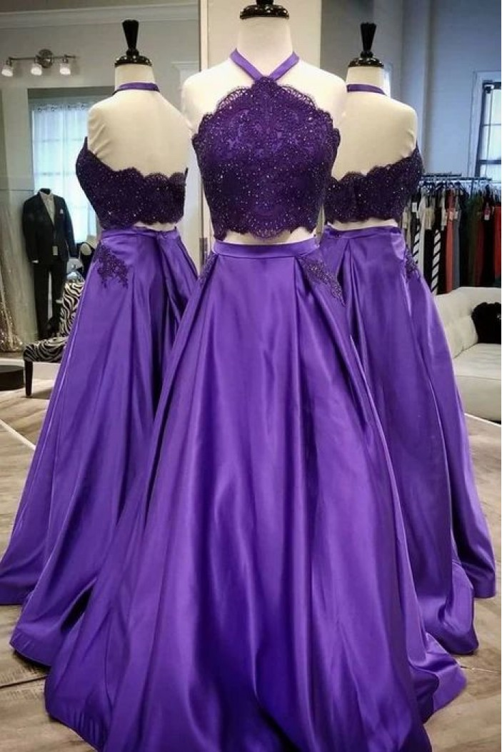 A-Line Beaded Lace Satin Two Pieces Long Prom Dresses Formal Evening Gowns 6011079