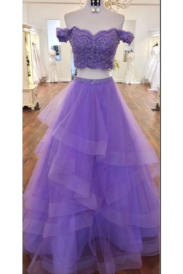 A-Line Beaded Lace Tulle Two Pieces Long Prom Dresses Formal Evening Gowns 6011080