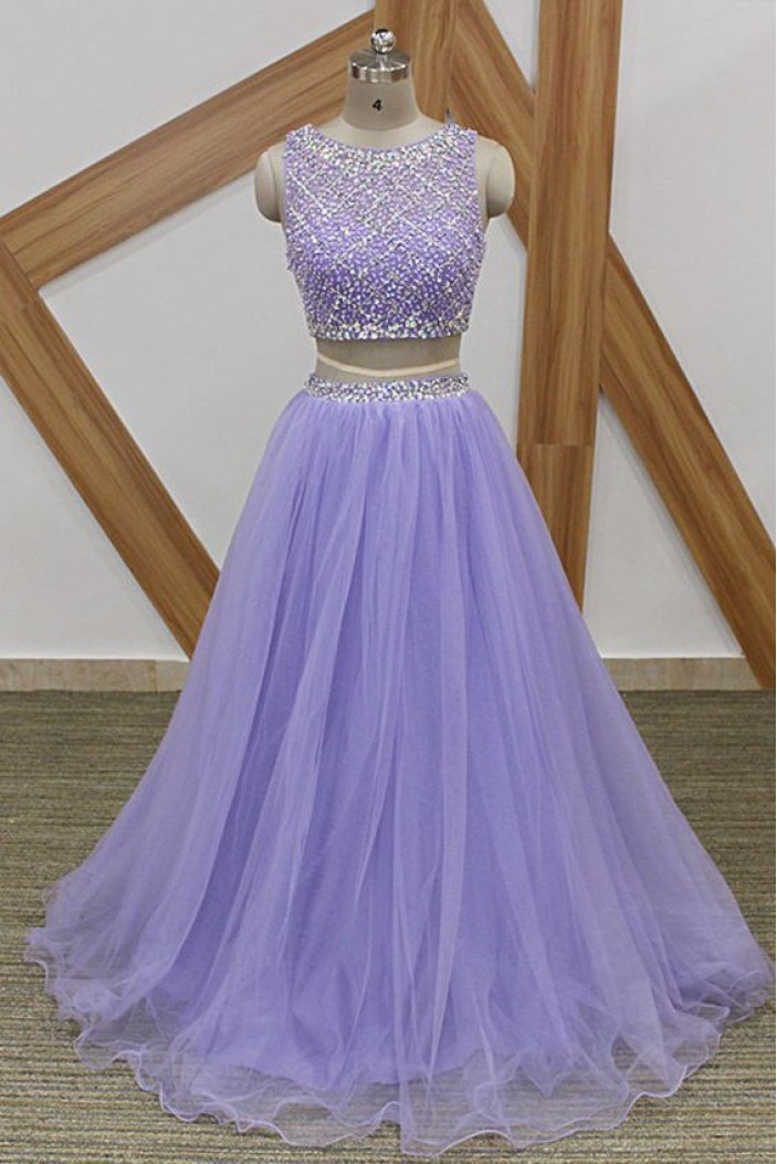 A-Line Beaded Tulle Two Pieces Long Prom Dresses Formal Evening Gowns 6011081