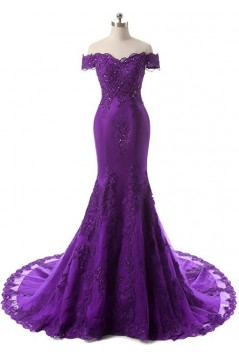 Mermaid Off-the-Shoulder Beaded Lace Long Prom Dresses Formal Evening Gowns 6011082