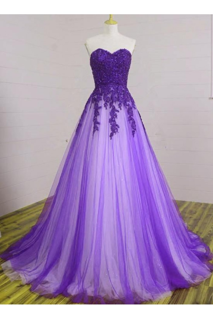 A-Line Beaded Lace Tulle Long Prom Dresses Formal Evening Gowns 6011083