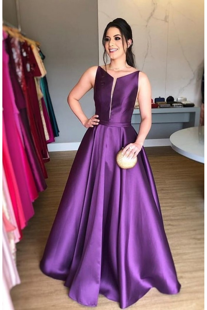 A-Line Long Satin Prom Dresses Formal Evening Gowns 6011086