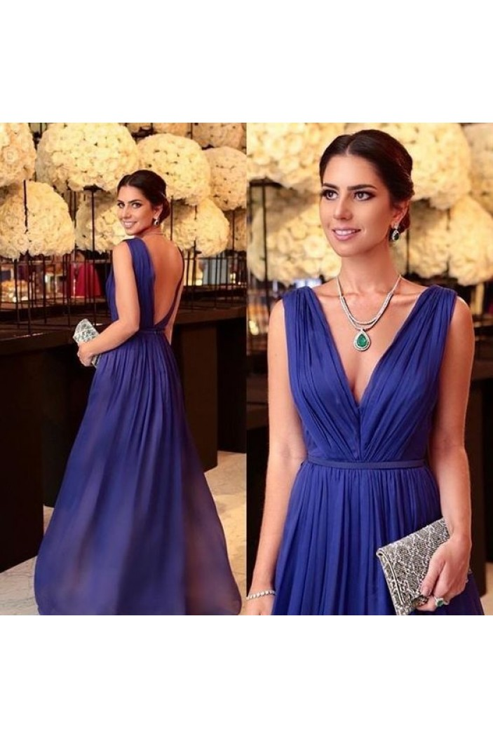 A-Line Chiffon V-Neck Long Prom Dresses Formal Evening Gowns 6011087