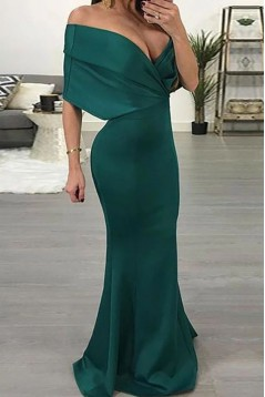 Mermaid Off-the-Shoulder Long Navy Prom Dresses Formal Evening Gowns 6011089