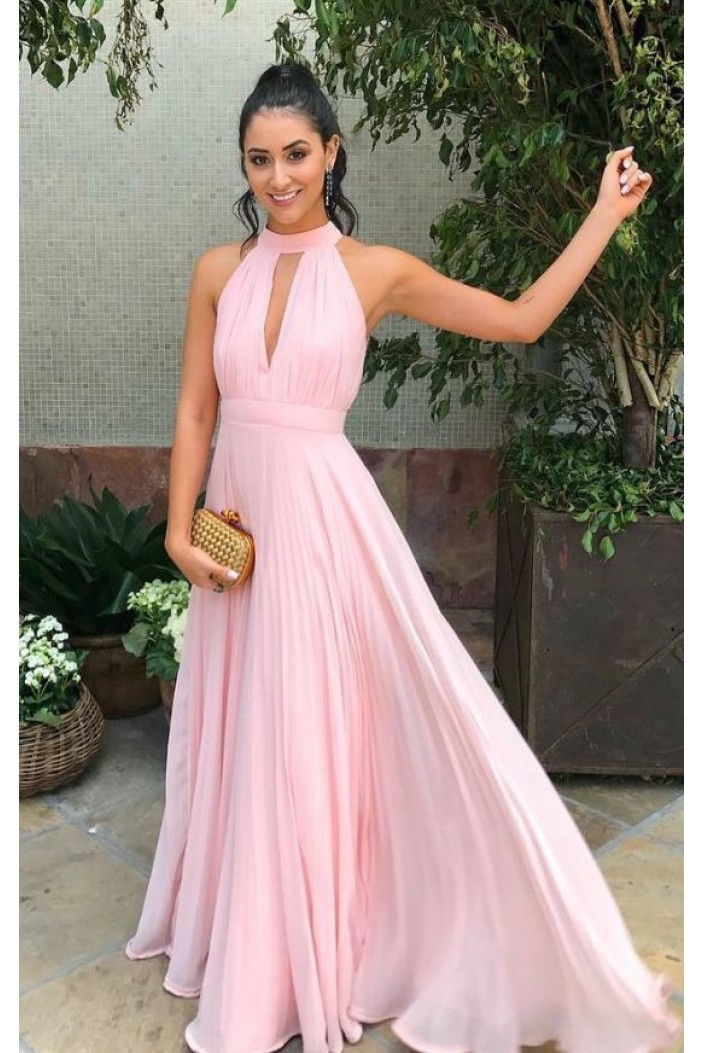 A-Line Chiffon Long Pink Prom Dresses Formal Evening Gowns 6011095