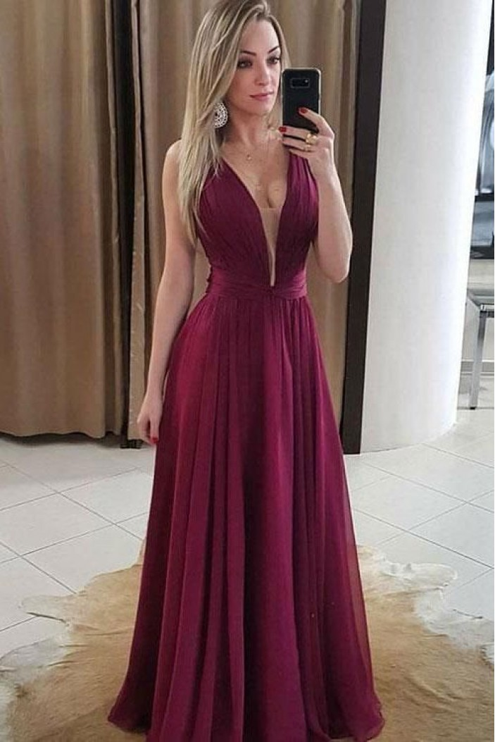 A-Line Chiffon Long Prom Dresses Formal Evening Gowns 6011097