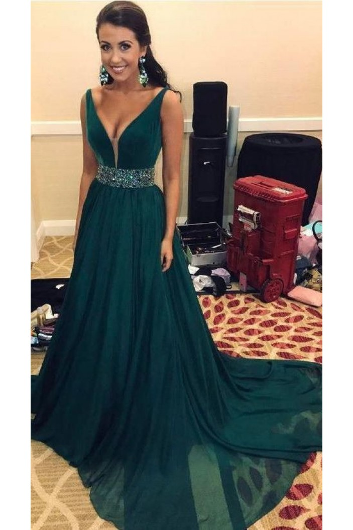 A-Line Beaded Long Prom Dresses Formal Evening Gowns 6011099