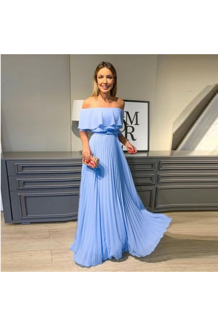 A-Line Chiffon Off-the-Shoulder Long Prom Dresses Formal Evening Gowns 6011103