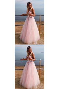 A-Line Tulle V-Neck Long Prom Dresses Formal Evening Gowns 6011109