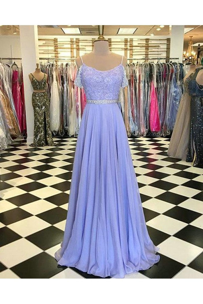 A-Line Beaded Lace Chiffon Long Prom Dresses Formal Evening Gowns 6011112