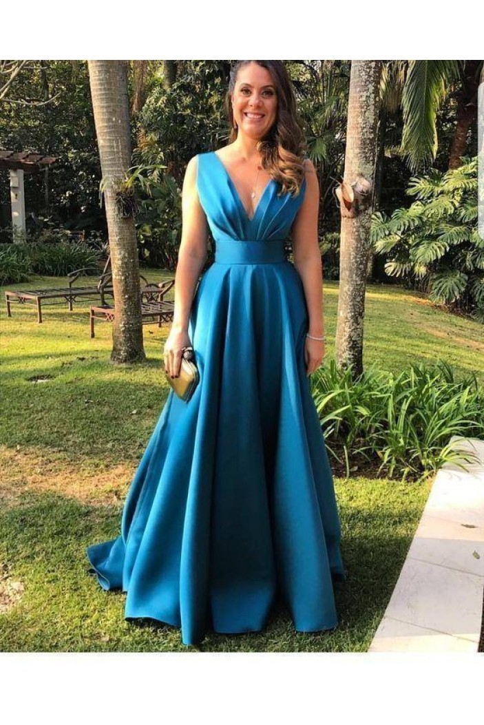 A-Line V-Neck Long Prom Dresses Formal Evening Gowns 6011113