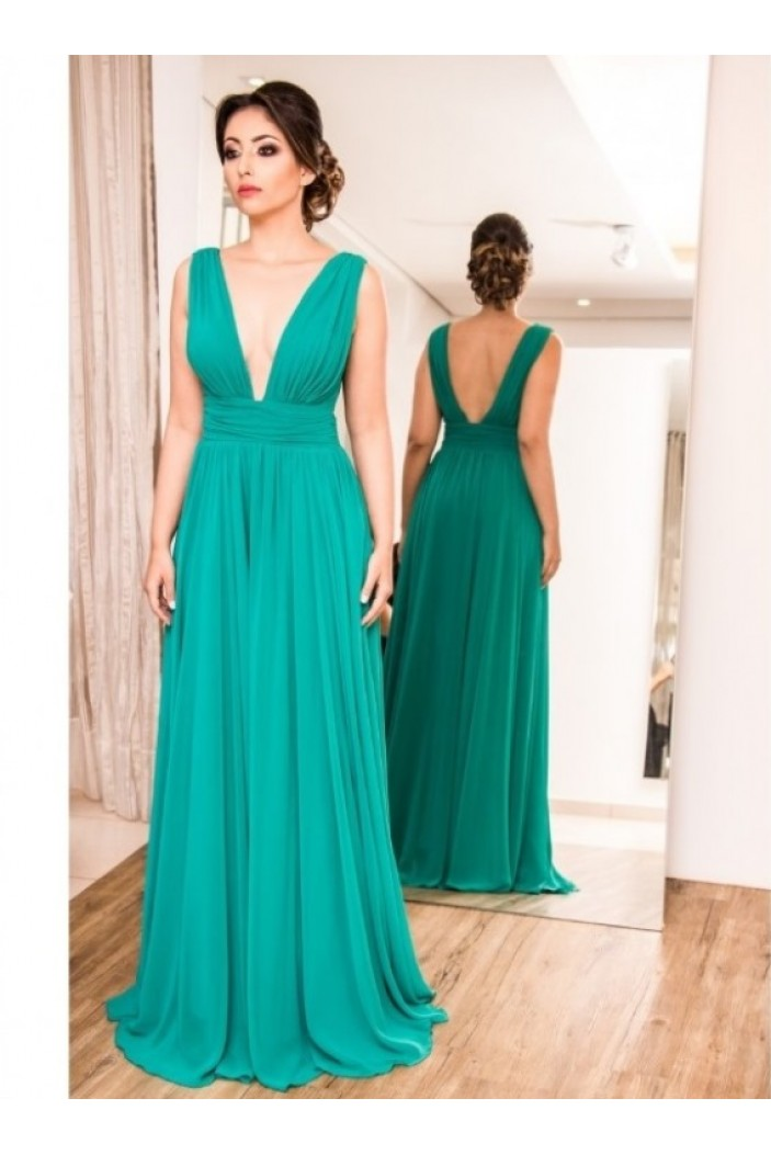 A-Line Chiffon V-Neck Long Formal Evening Dresses Wedding Party Gowns 6011115